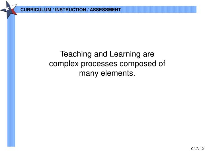 Teaching and Learning are complex processes composed of many elements.