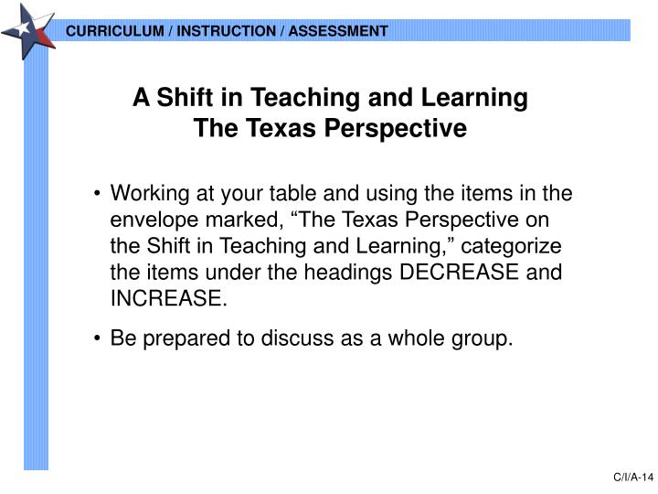 A Shift in Teaching and Learning