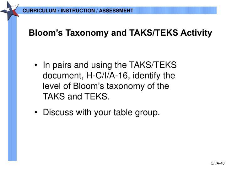Bloom's Taxonomy and TAKS/TEKS Activity