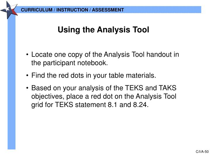 Using the Analysis Tool