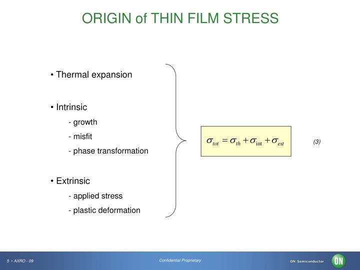 ORIGIN of THIN FILM STRESS