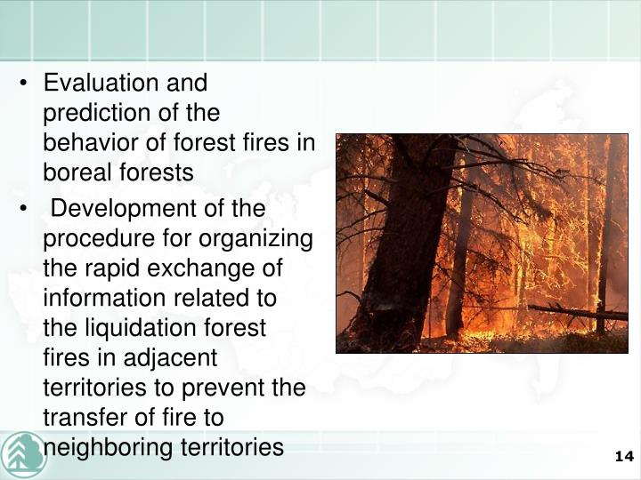 Evaluation and prediction of the behavior of forest fires in boreal forests