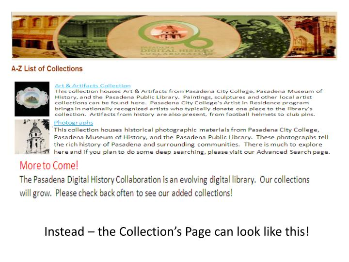 Instead – the Collection's Page