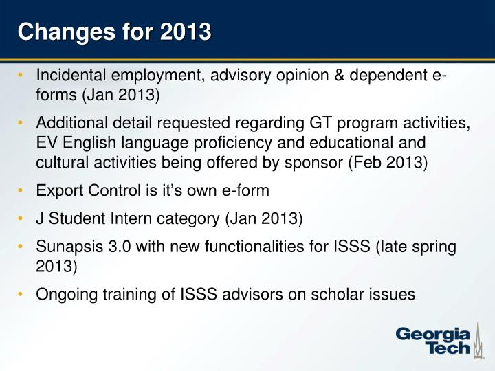 Changes for 2013