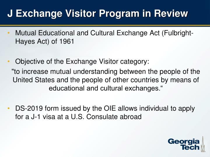 J Exchange Visitor Program in Review