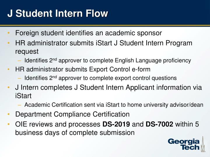 J Student Intern Flow
