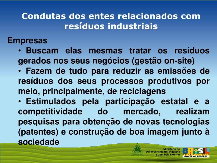 Condutas dos entes relacionados com resíduos industriais