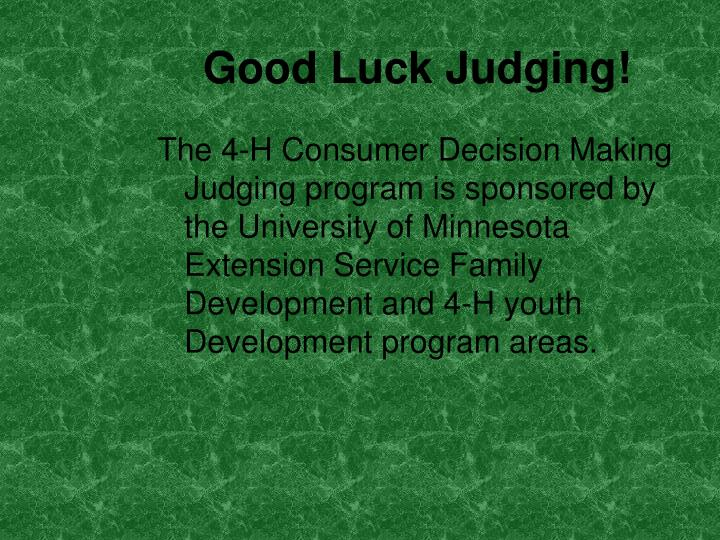 Good Luck Judging!
