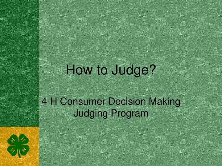 how to judge