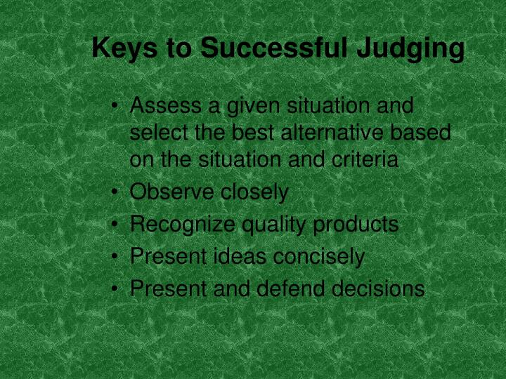 Keys to Successful Judging