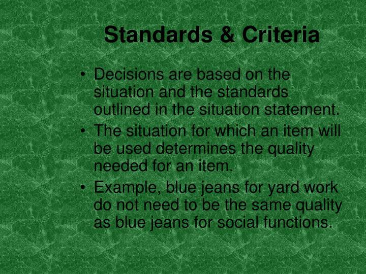 Standards & Criteria