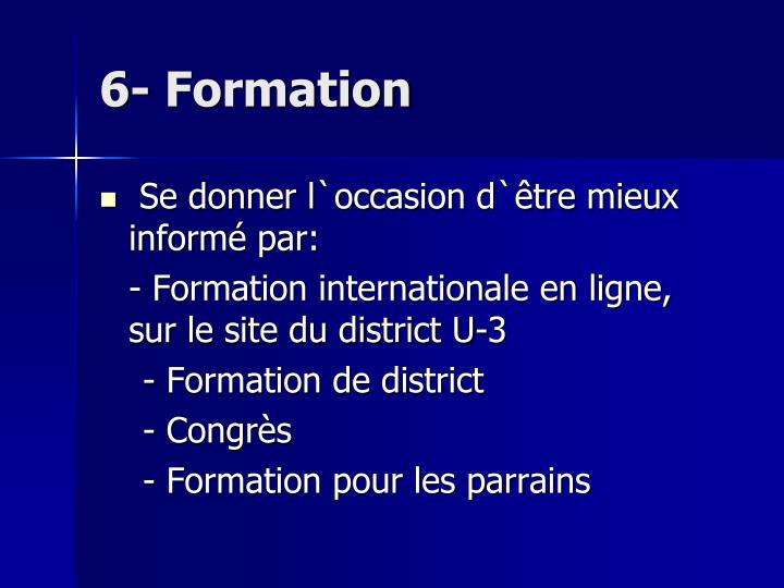 6- Formation