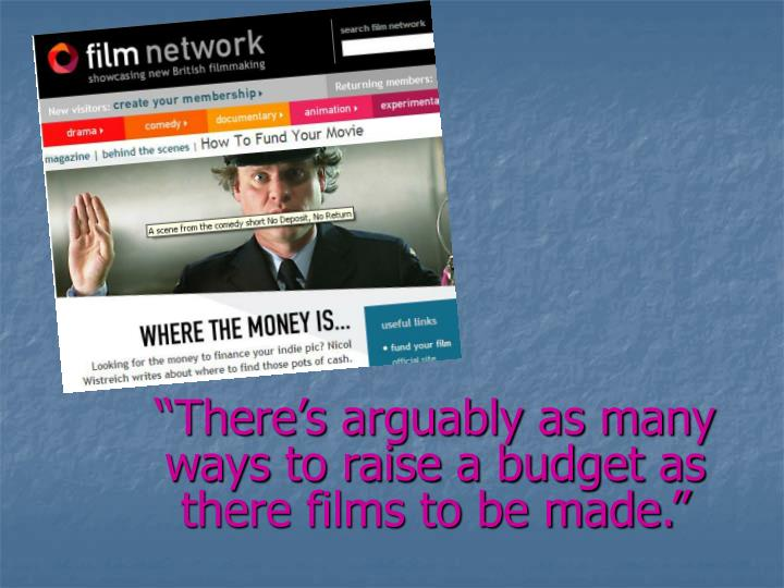 """There's arguably as many ways to raise a budget as there films to be made."""