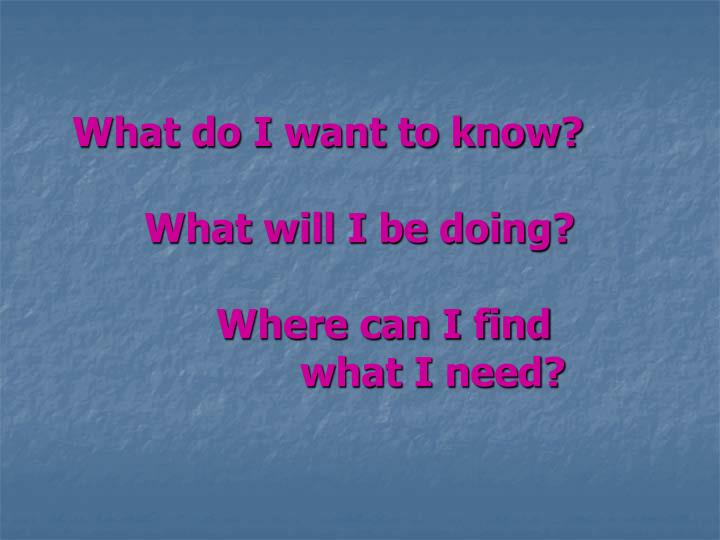 What do i want to know what will i be doing where can i find what i need