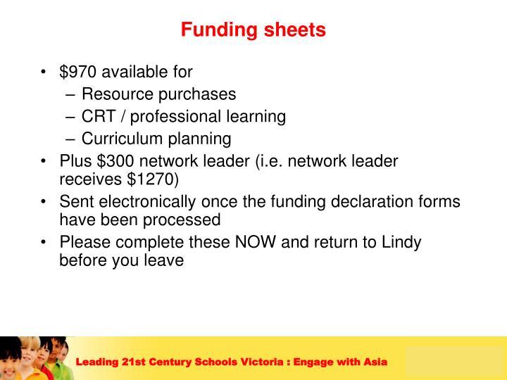 Funding sheets