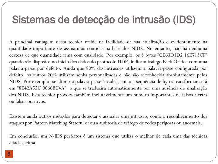 Sistemas de detecção de intrusão (IDS)
