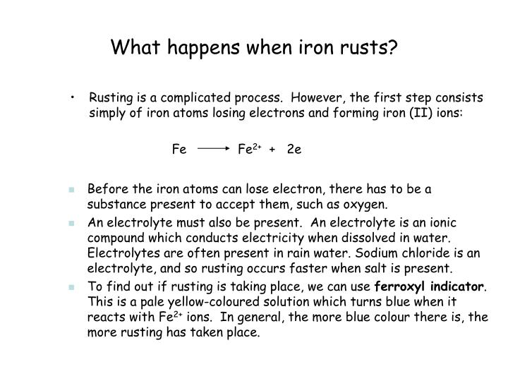 What happens when iron rusts?