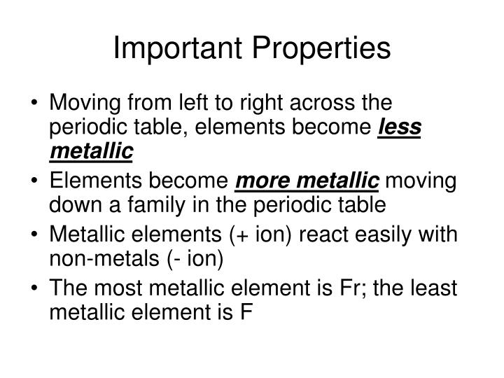 Important Properties