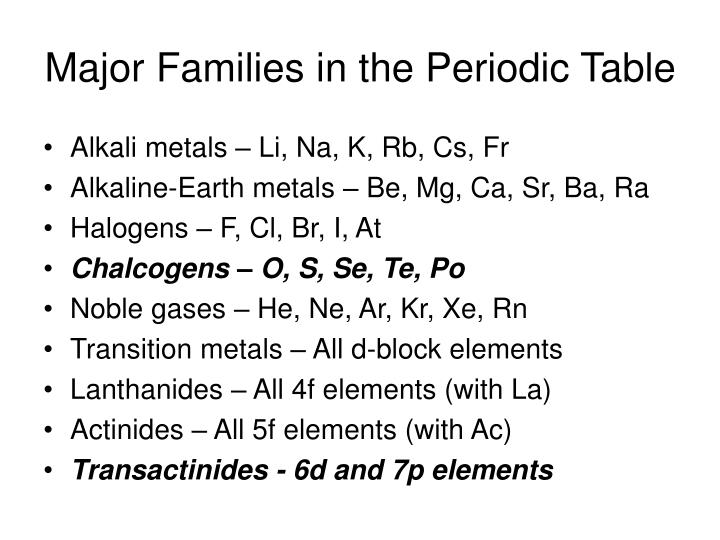 Major Families in the Periodic Table