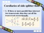 corollaries of side splitter thm