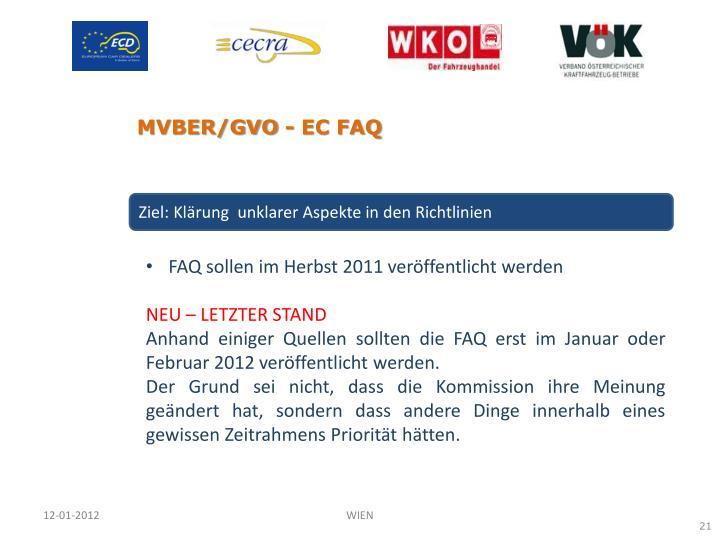 MVBER/GVO - EC FAQ