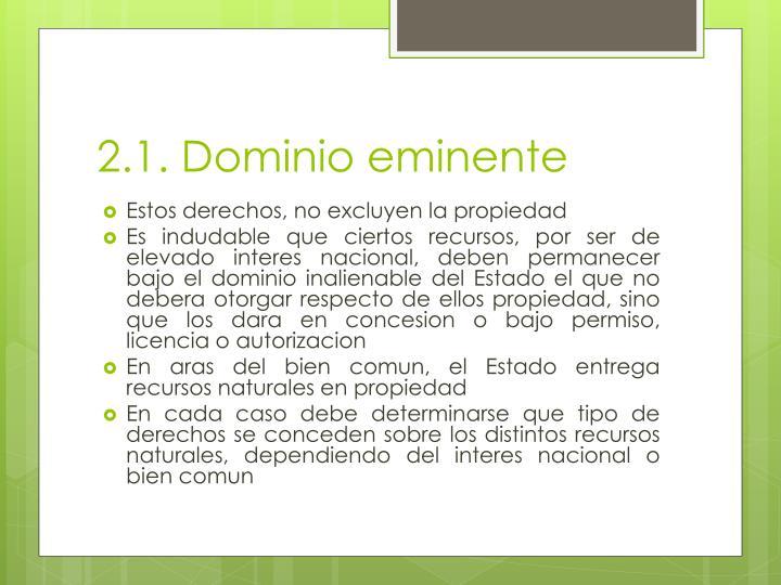 2.1. Dominio eminente