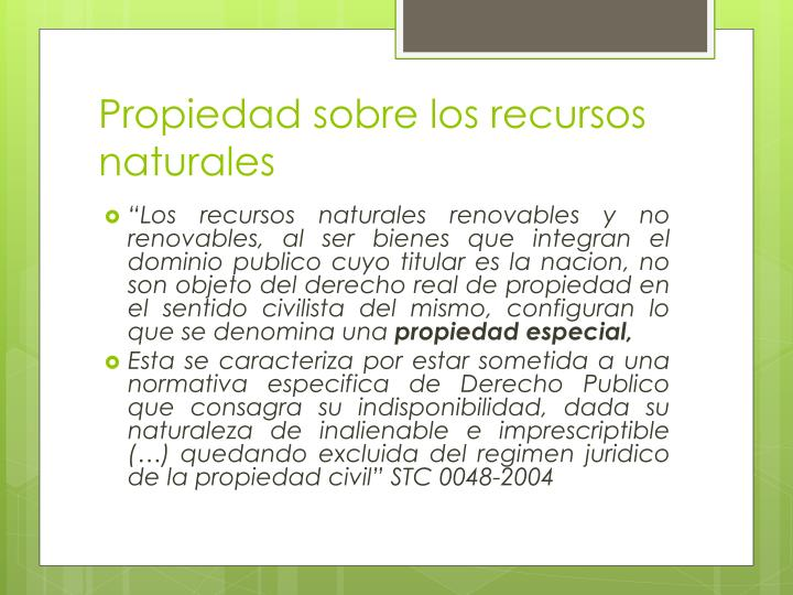 Propiedad sobre los recursos naturales