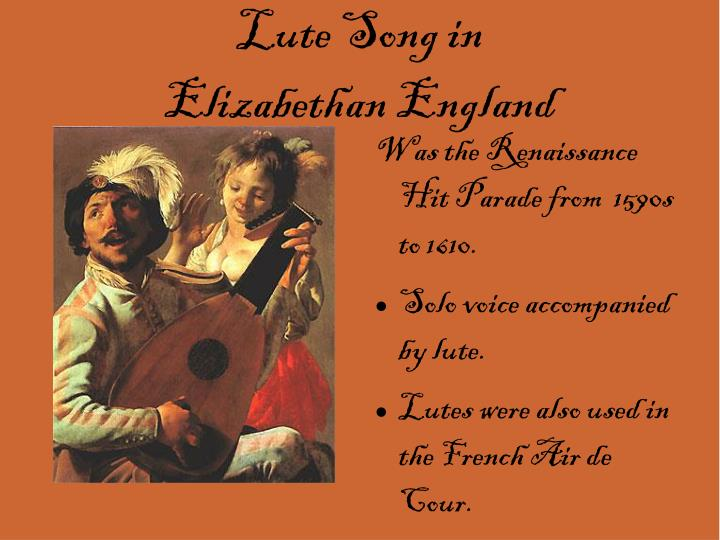 Lute song in elizabethan england