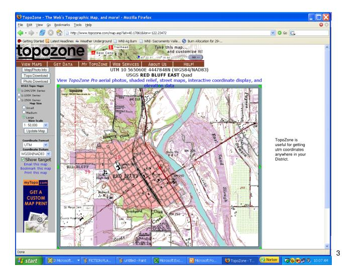 TopoZone is useful for getting utm coordinates anywhere in your District.