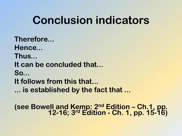Conclusion indicators