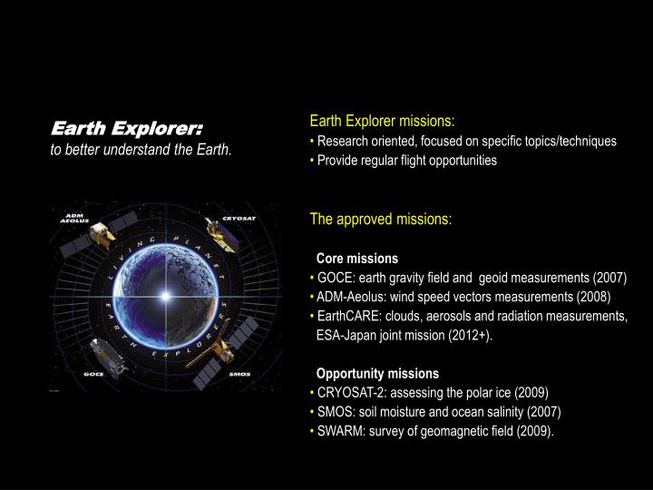 Earth Explorer missions: