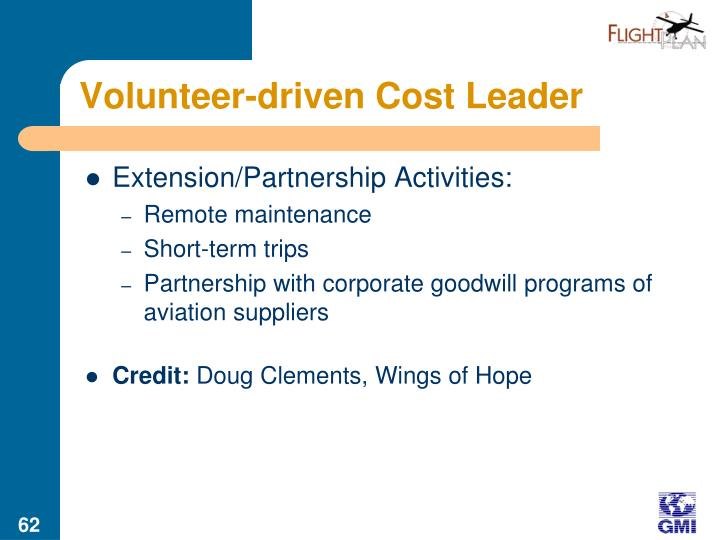 Volunteer-driven Cost Leader