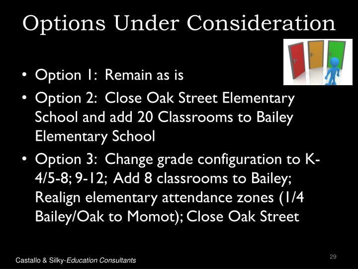 Options Under Consideration