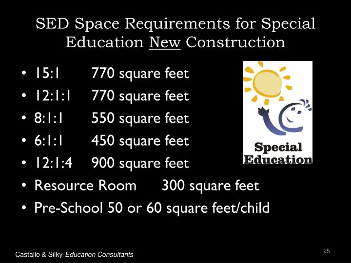 SED Space Requirements for Special Education