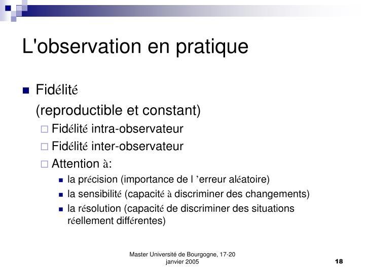 L'observation en pratique