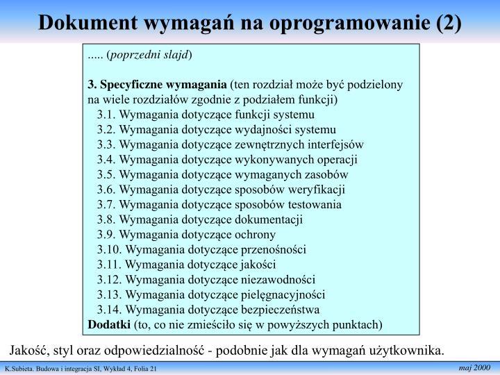 Dokument wymagań na oprogramowanie (2)