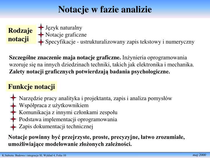 Notacje w fazie analizie