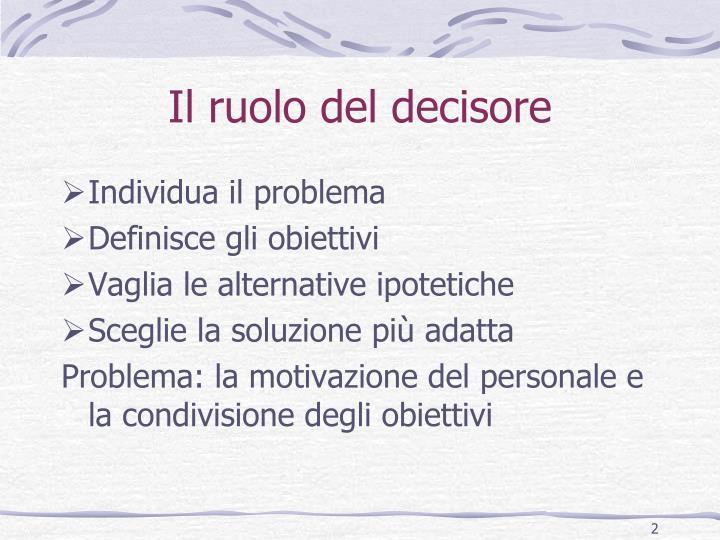 Il ruolo del decisore