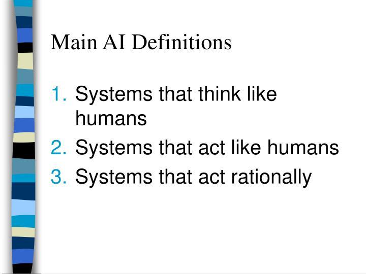 Main AI Definitions