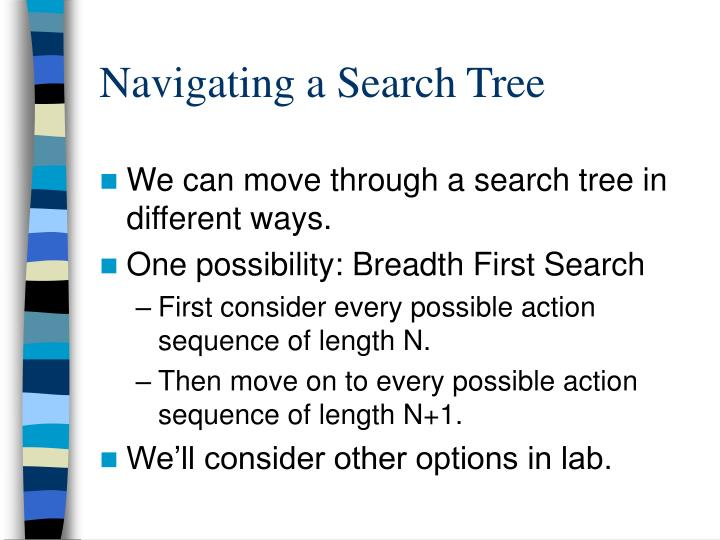 Navigating a Search Tree