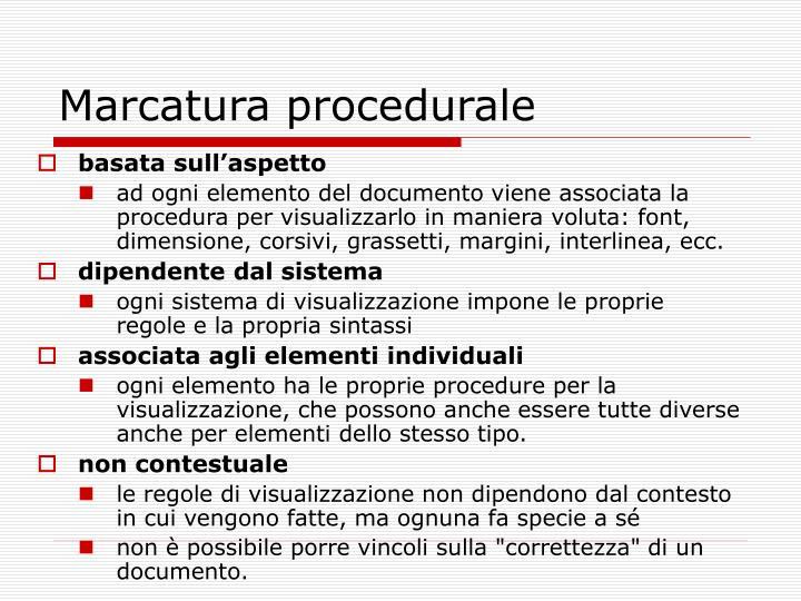 Marcatura procedurale