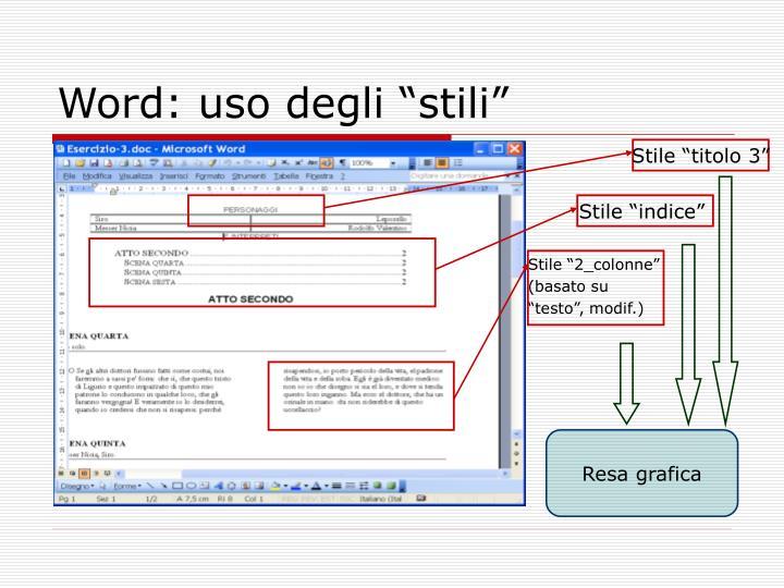 """Word: uso degli """"stili"""""""