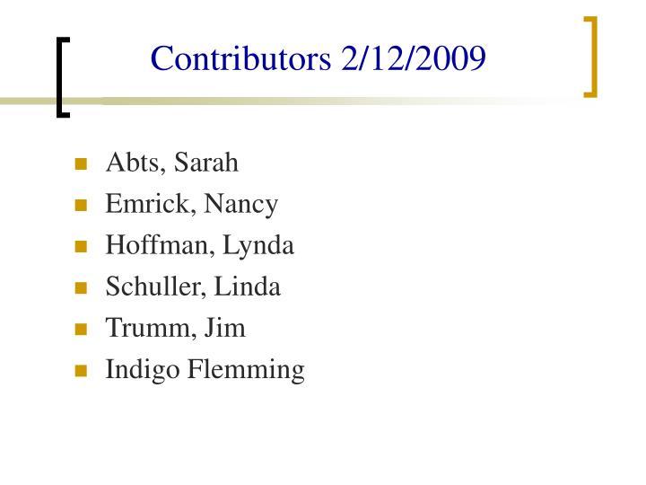 Contributors 2/12/2009