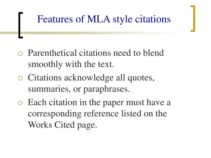 Features of MLA style citations