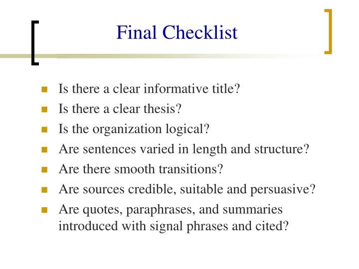 Final Checklist