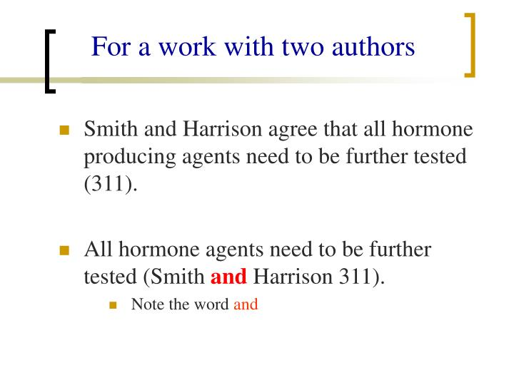 For a work with two authors
