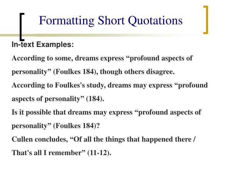 Formatting Short Quotations