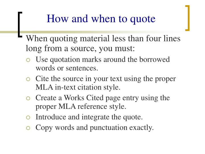 How and when to quote