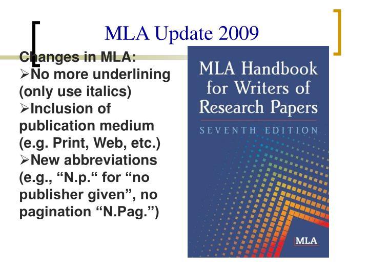 MLA Update 2009