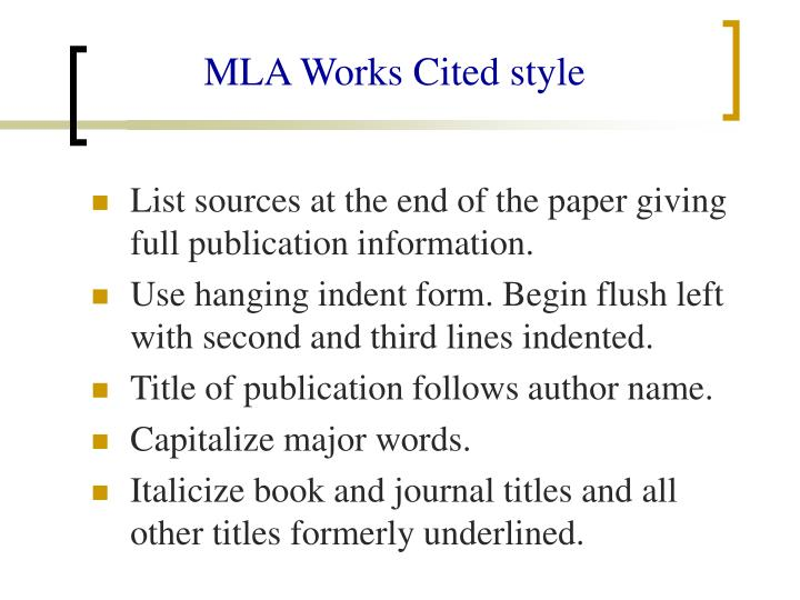 MLA Works Cited style